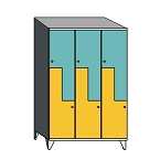 Z lockers with sloping top
