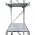 Metallihylly perusosa 2500x1200x500 600kg/hyllytaso,3 tasoa lastulevytasoilla