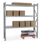 Metallihylly perusosa 2200x1200x900 600kg/hyllytaso,3 tasoa lastulevytasoilla