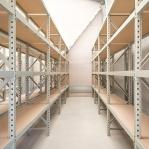 Metallihylly jatko-osa 2200x1200x500 600kg/hyllytaso,3 tasoa lastulevytasoilla