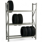 Metallihylly perusosa 2500x1500x600 600kg/hyllytaso,3 tasoa lastulevytasoilla