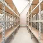 Metallihylly jatko-osa 2500x1200x800 600kg/hyllytaso,3 tasoa peltitasoilla