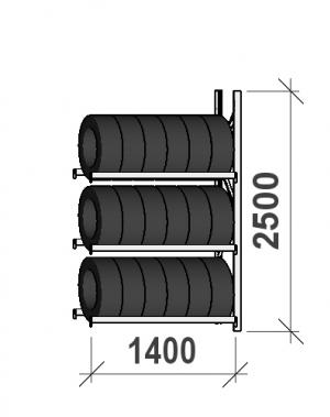 Rengashylly jatko-osa 2500x1400x500, 3 tasoa, 600kg/taso
