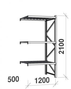 Varastohylly jatko-osa 2100x1200x500 600kg/hyllytaso,3 tasoa peltitasoilla