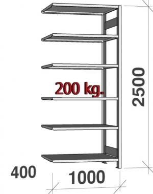 Varastohylly jatko-osa 2500x1000x400 200kg/hyllytaso,6 tasoa