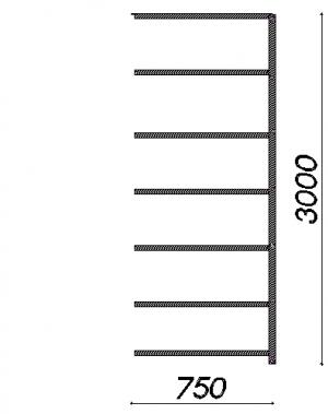 Varastohylly jatko-osa 3000x1000x500 200kg/hyllytaso,7 tasoa