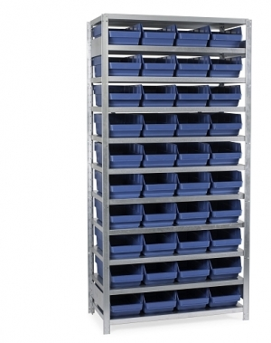 Laatikkohylly 2100x1000x400, 40 laatikkoa 400x240x150