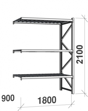 Varastohylly jatko-osa 2100x1800x900 480kg/hyllytaso,3 tasoa peltitasoilla