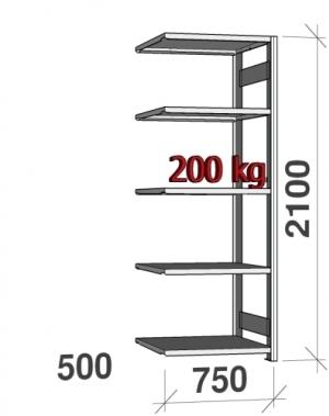 Varastohylly jatko-osa 2100x750x500 200kg/hyllytaso,5 tasoa