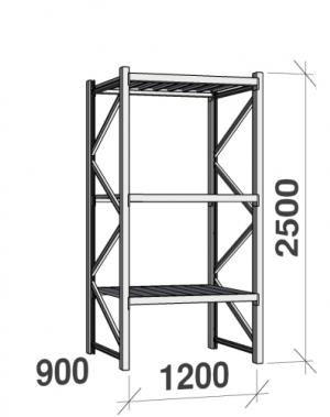 Metallihylly perusosa 2500x1200x900 600kg/hyllytaso,3 tasoa peltitasoilla