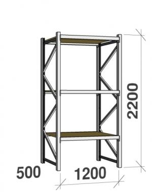 Metallihylly perusosa 2200x1200x500 600kg/hyllytaso,3 tasoa lastulevytasoilla