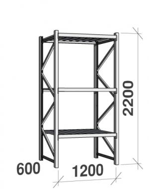 Metallihylly perusosa 2200x1200x600 600kg/hyllytaso,3 tasoa peltitasoilla