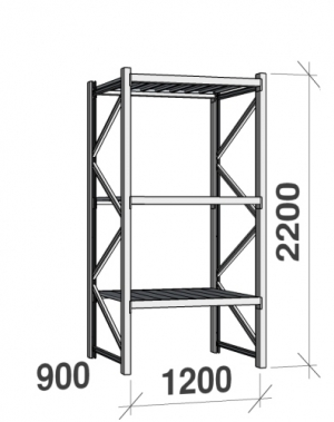 Metallihylly perusosa 2200x1200x900 600kg/hyllytaso,3 tasoa peltitasoilla
