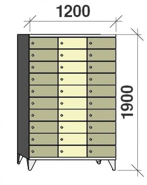 Lokerokaappi 30:lla ovella 1900x1200x545