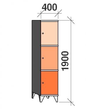 Lokerokaappi 3:lla ovella 1900x400x545