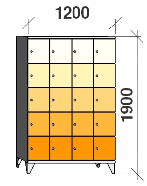 5-tier locker, 20 doors, 1900x1200x545 mm
