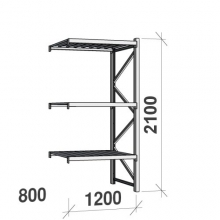 Varastohylly jatko-osa 2100x1200x800 600kg/hyllytaso,3 tasoa peltitasoilla