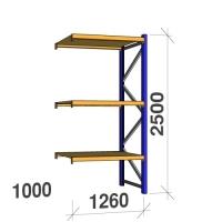 Kevytorsihylly jatko-osa 2500x1260x1000 450kg/hyllytaso,3 tasoa lastulevytasoill