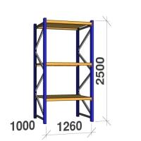 Kevytorsihylly perusosa 2500x1260x1000 450kg/hyllytaso,3 tasoa lastulevytasoilla