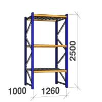 Kevytorsihylly perusosa 2500x1260x1000 450kg/hyllytaso,3 tasoa peltitasoilla