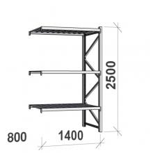 Varastohylly jatko-osa 2500x1400x800 600kg/hyllytaso,3 tasoa peltitasoilla
