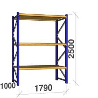 Kevytorsihylly perusosa 2500x1790x1000 360kg/hyllytaso,3 tasoa lastulevytasoilla