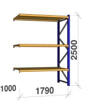 Kevytorsihylly jatko-osa 2500x1790x1000 360kg/hyllytaso,3 tasoa lastulevytasoill