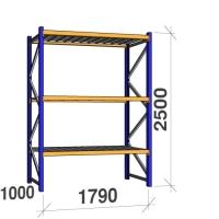 Kevytorsihylly perusosa 2500x1790x1000 360kg/hyllytaso,3 tasoa peltitasoilla