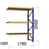 Kevytorsihylly jatko-osa 2500x1790x1000 360kg/hyllytaso,3 tasoa peltitasoilla
