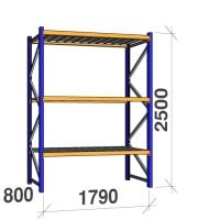 Kevytorsihylly perusosa 2500x1790x800 360kg/hyllytaso, 3 tasoa peltitasoilla