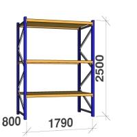 Kevytorsihylly perusosa 2500x1790x800 360kg/hyllytaso, 3 tasoa lastulevytasoilla