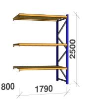 Kevytorsihylly jatko-osa 2500x1790x800 360kg/hyllytaso,3 tasoa lastulevytasoilla