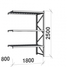 Varastohylly jatko-osa 2500x1800x800 480kg/hyllytaso,3 tasoa peltitasoilla