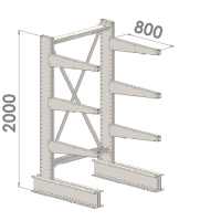 Ulokehylly perusosa 2000x1000x800,4 tasoa