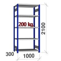 Pientavarahylly perusosa 2100x1000x300 200kg/hyllytaso,5 tasoa, sininen/Zn