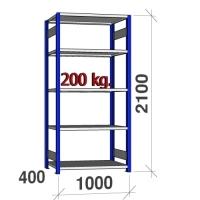 Pientavarahylly perusosa 2100x1000x400 200kg/hyllytaso,5 tasoa, sininen/Zn