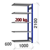 Pientavarahylly jatko-osa 2100x1000x600 200kg/hyllytaso,5 tasoa, sininen/Zn