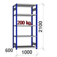 Pientavarahylly perusosa 2100x1000x600 200kg/hyllytaso,5 tasoa, sininen/Zn