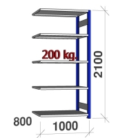 Pientavarahylly jatko-osa 2100x1000x800 200kg/hyllytaso,5 tasoa, sininen/Zn