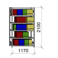 Arkistohylly perusosa 2100x1170x300 200kg/hyllytaso,6 tasoa