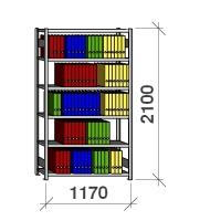 Arkistohylly perusosa 2100x1170x400 150kg/hyllytaso,6 tasoa