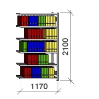 Arkistohylly jatko-osa 2100x1170x300 200kg/hyllytaso,6 tasoa