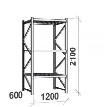 Varastohylly perusosa 2100x1200x600 600kg/hyllytaso,3 tasoa peltitasoilla