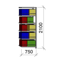 Arkistohylly jatko-osa 2100x750x400 200kg/hyllytaso,6 tasoa