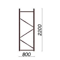 Kevytorsihyllyn pylväselementti 2200x800 mm