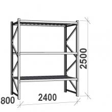 Varastohylly perusosa 2500x2400x800 300kg/hyllytaso,3 tasoa peltitasoilla