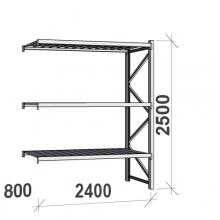 Varastohylly jatko-osa 2500x2400x800 300kg/hyllytaso,3 tasoa peltitasoilla