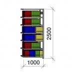 Arkistohylly jatko-osa 2500x1000x400 150kg/hyllytaso,7 tasoa