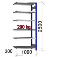 Pientavarahylly jatko-osa 2500x1000x300 200kg/hyllytaso,6 tasoa, sininen/Zn