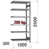 Varastohylly jatko-osa 2500x1000x300 200kg/hyllytaso,6 tasoa